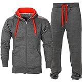 Chándal para hombre de Missmister; sudadera con capucha, cremallera y cordones Charcoal/Red UK L