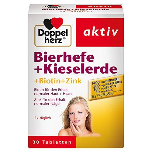 Doppelherz Bierhefe + Kieselerde - Biotin und Zink für den Erhalt normaler Haut - 1 x 30 Tabletten
