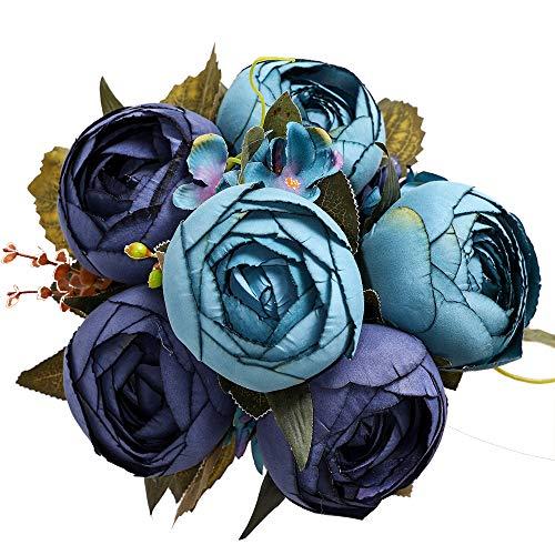 Luyue Vintage Künstliche Pfingstrosen Seide Pfingstrosen Kunstblumen Hochzeit Blumenstrauß Home Floral Decor (1 Stück) Vintage Navy Blue