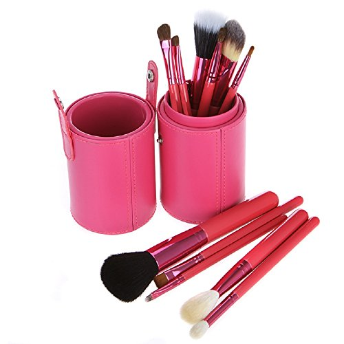 Anself 12pcs pinceau de maquillage professionnel Set Outil de maquillage de kit de brosse de maquillage avec Cup Holder Case en cuir (rose)