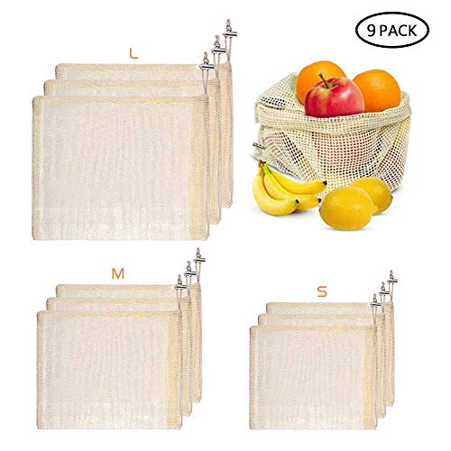 Womdee Reusable Produce Bags Eco-Friendly Organic Cotton Mesh Bags Organic Keeper for Fruit & Vegetable Storage Machine Washable, biologisch abbaubar, Set of 9, Small-Medium-Large -