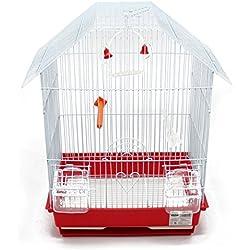 BPS Jaula Pájaros Metal con Comedero Bebedero Columpio Saltador Cubeta Color envia al Azar 34.5 x 28 x 46 cm BPS-1152