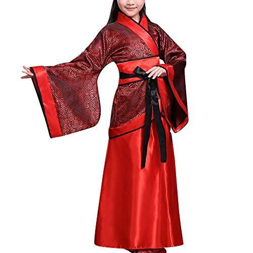 Tanz Kostüm Chinesische Traditionelle - Gtagain Historisch Chinesisch Kostüm Accessoires - Mädchen Braut Kostüm Tang-Anzug Traditionell Hanfu Cosplay Bühne Show Vorstellungen Tanz Halloween Teamuniform (UK 140=Etikette 150)