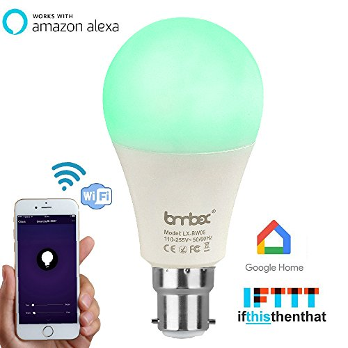 Lombex WiFi Led light bulb Smart Light Bulb B22 Bayonet 60W Equivalent Led Bulb Works With Alexa RGBW Color Changing Mood Light Controlled By Smart Devices No Hub Required For Christmas Relaxation, Party Lights, or Decorative Bulbs Warm White