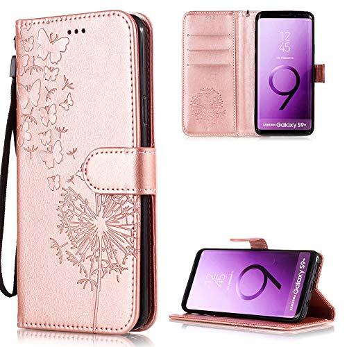 FNBK Kompatibel mit Samsung Galaxy S9 Plus Hülle Leder Rosegold Löwenzahn Blumen Handyhülle Leder Flip Wallet Cover Tasche Stand Case Card Slot Magnetverschluß Kratzfestes Schutzhülle