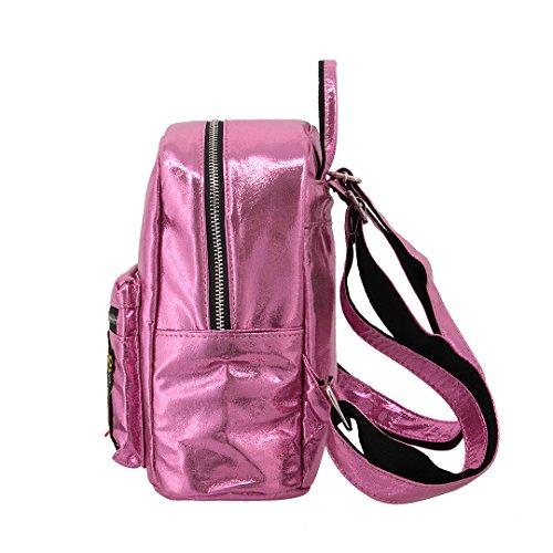 Novias Boutique Frauen Casual Hologramm PU Hahn Rucksack Satchel Schultertasche Schultasche (Golden) rose