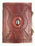 Kooly Zen - Carnet, bloc notes, journal, Livre, Cuir Véritable, Vintage, Fermoir Métal, Labradorite premium, 15cm X 20cm, papier premium