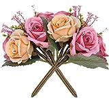 Homcomoda Künstliche Blumen 2er Pack mit 14 Blütenköpfen künstliche blumenstrauß Blumenarrangements Für Dekoration (Rosa-Champagner)