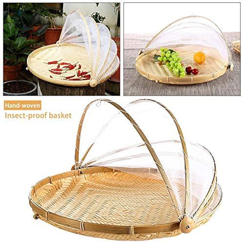 Bambus Speisen Zelt Korb Handgewebter Zeltkorb mit Gaze Korb Staubdicht Insektenbekämpfung Handgewebter Zeltkorb Obst-Gemüse-Brotdecke Aufbewahrungsbehälter für Picknick im Freien