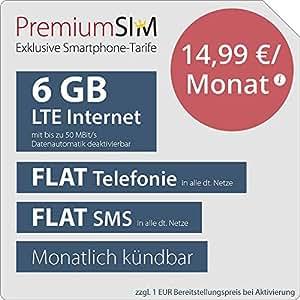 Sim Karte Monatlich Kündbar.Premiumsim Lte L Allnet Flat Monatlich Kündbar Flat Internet 6 Gb Lte Mit Max 50 Mbit S Mit Deaktivierbarer Datenautomatik Flat Telefonie Flat
