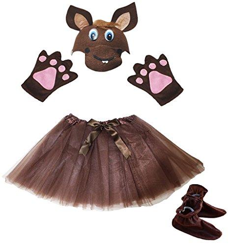 Petitebelle Pferd Hat Handschuhe Rock Schuhe 4pc Mädchen-Kostüm 1-5Y Einheitsgröße Braun (Braunes Pferd Kind Kostüm)