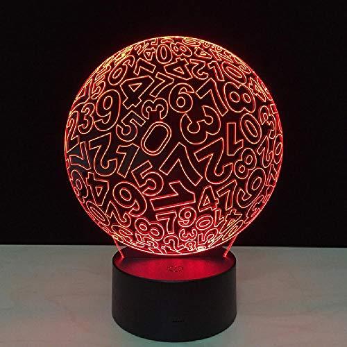 3D Illusion Lampe Acrylglasscheibe mit hoher Lichtdurchlässigkeit LED Nachtlicht, USB-Stromversorgung 7 Farben Blinken Berührungsschalter Schlafzimmer Schreibtischlampe für Kinder Weihnachts geschenk - C6 Mit Blauem Led-licht