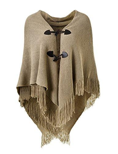 Ferand Poncho-Schal in lässiger Passform mit stylischen Hornknöpfen, V-Ausschnitt und V-Saum für Frauen, Braun