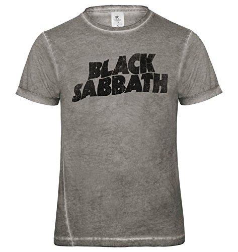 LaMAGLIERIA Herren T-Shirt Vintage Look Black Sabbath White Classic Logo Grunge Print Cod. Grpr0027