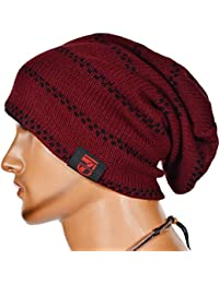 461b63ebf67 FORBUSITE Mens Slouchy Beanie Long Knitted Skull Cap Winter Hat Claret B734