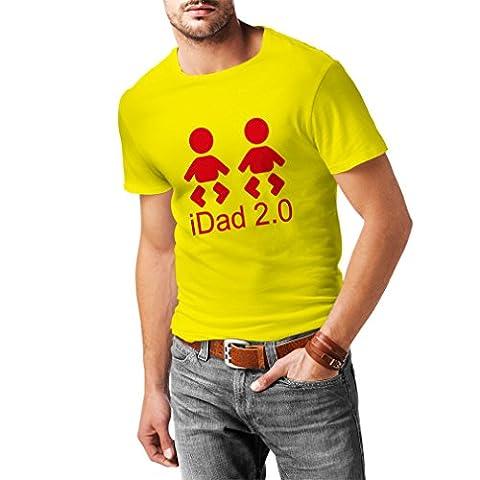 T-shirt pour hommes IDad 2 le meilleur papa jamais des cadeaux pour lui des cadeaux de jour de père le meilleur papa trophée (XX-Large Jaune Rouge)