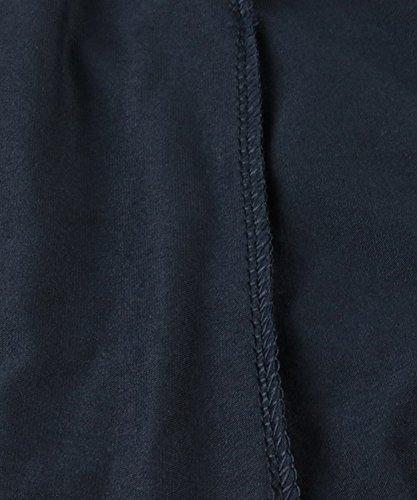 DEMO Damen Midi Kleid Allgleiches Swing Kleid Herbst und Winter Rundhals 3/4 Ärmel beiläufige lose Rüschen Maxi Kleid reine Farbe Party Kleid A Linie Kleid Navy Blau