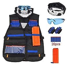 Idea Regalo - Gilet Tattico per Bambini, Kit di Giubbotto Tattico per Nerf N-Strike, Maschera viso e occhiali,20Pcs Freccette di schiuma,1Pc 12-dart clip di ricarica rapida della clip,2Pcs 8-Cinturino da polso