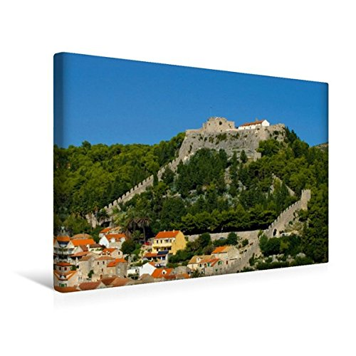 Preisvergleich Produktbild Premium Textil-Leinwand 45 cm x 30 cm quer, Festung Španjola, Hvar | Wandbild, Bild auf Keilrahmen, Fertigbild auf echter Leinwand, Leinwanddruck: Burgen in Kroatien (CALVENDO Orte)