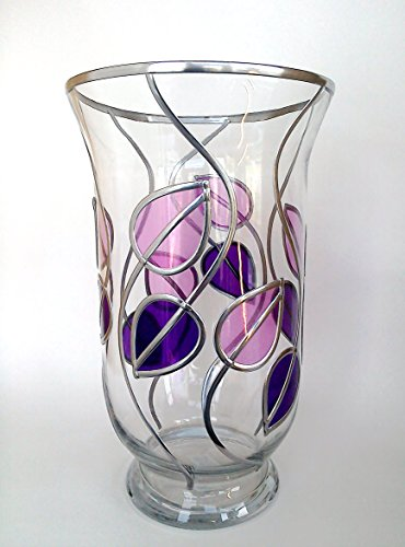 Hurricane Style Candle Lamp Glass Vase In Purple And Lilac, Inspired By Charles Rennie Mackintosh