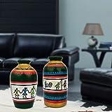 Warli Pots For Home Decor, Table Decor, Shelf Decor, Corporate Gifting From IHandikart Handicrafts With Beautifull Rajasthani Madhubani/Warli Painting, Handpainted Flower Vases(4 Inches, Pack Of 2) IHK7009-12