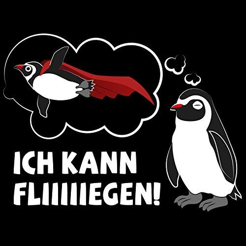 Fashionalarm Herren T-Shirt - Ich kann fliegen | Fun Shirt mit Spruch und Pinguin Motiv Schwarz