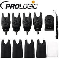 Prologic BAT+ Bite Alarm Set 4+1-4 Bissanzeiger + 1 Receiver zum Karpfenangeln, Bissmelder für Karpfen, Karpfenbissanzeiger