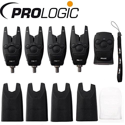 Prologic BAT+ Bite Alarm Blue Set 4+1-4 Bissanzeiger + 1 Receiver zum Karpfenangeln & Hechtangeln, Karpfenbissanzeiger