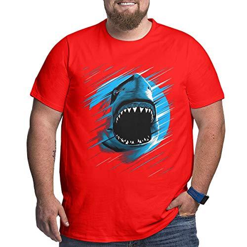 VV & NO Shark Moon Lines Men's Boys Big Size Short Sleeve Hoodies Slim Fit T-Shirt Tee -