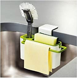Everyday Desire Self Draining Sink Tidy with suction cup Organizer Brush Sponge Cleaning Cloth Holder kitchen draining dishs rack Self Draining Sink Caddy With Brush Holder - Works With All Sinks - Double, Single, Bowl, Commercial, Restaurant And Utility Color:White and Green