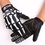 Tofern Herren/Jungendliche Handschuhe Fahrradhandschuhe vollfinger warm Winter für Fahrrad Skelett Totenkopf, Weiß L (Handflächebreite 8-9cm)
