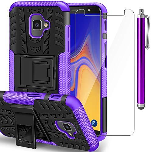 AROYI Samsung Galaxy J4 Plus Hülle+ Panzerglas, Galaxy J6 Plus TPU Series Dual Layer Hybrid Handyhülle Drop Resistance Handys Schutz Hülle mit Ständer für Samsung Galaxy J4 Plus/J6 Plus Violett