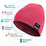 HANPURE Bluetooth Beanie, Bluetooth Kopfhörer Mütze, Winter Strickmütze Unterstützt Musik hören und Anruf, Wiederaufladbare, Familie und Freunde
