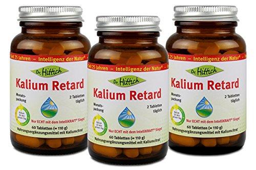 Kalium Retard - Das Nahrungsergänzungsmittel Kalium Retard versorgt Sie mit nur zwei Tabletten pro Tag rund um die Uhr mit 900 mg Kalium - Original vom Hersteller Dr. Hittich (3-Monatspackung)