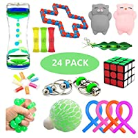Sensory Fidget Toys Set, 24 Pack, Stress Relief and Anxiety Tools Bundle for Kids and Adults, Include Liquid Motion Timer, Mesh & Marble Toy, Flippy Chain, Magic Cube & More