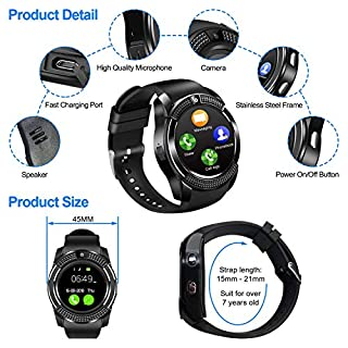 Smart watches with SIM card slot touch screen camera (Red 2)