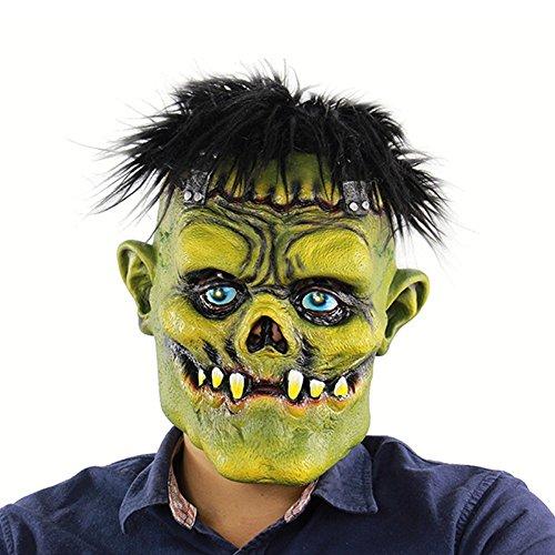 Yxsd Scary Brunette Green Gesicht Monster Head Cover Halloween Latex Geistermaske