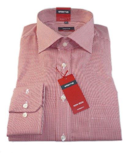 ETERNA Herren Langarm Hemd Modern Fit Superlange Ärmel 72 cm rot / weiß kariert mit Patch 4303.54.X157.ÄL72 Rot