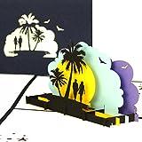 'Tarjeta de felicitación 'Sunset Beach-3d pop up Tarjetas como Bonos, tarjetas de cumpleaños, 3d-Tarjetas de viaje vacaciones & playa, viaje de bodas, Wellness Fin de semana-Viaje GG02& Hotel