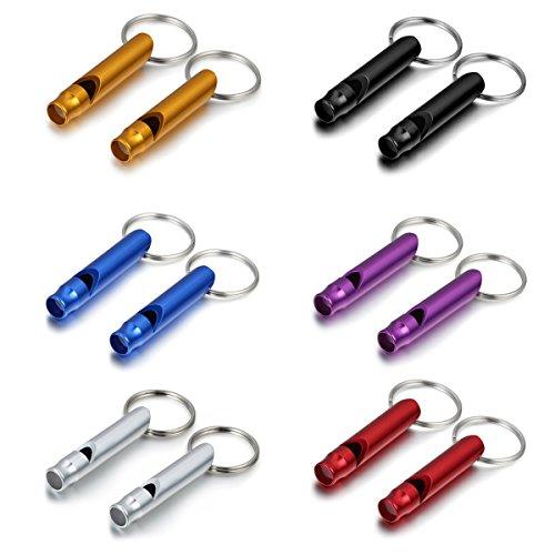Aroncent 12er Trillerpfeife Bonbonfarben Signalpfeife Aluminium Laut Notfallpfeife mit Schlüsselanhänger, Bunt