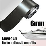 ZIERSTREIFEN 10m ANTHRAZIT 6mm METALLIC Auto Boot Jetski antrazit grau Modellbau Vinyl Dekorstreifen