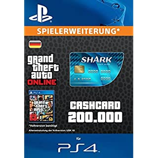 Grand Theft Auto Online   GTA V Tiger Shark Cash Card   200,000 GTA-Dollars   PS4 Download Code - deutsches Konto