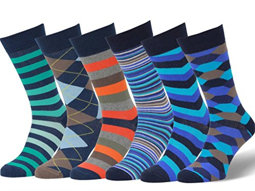 Easton Marlowe 6 Paar Fein Gemusterte Kleidersocken, 6 pairs, dk navy - royal blue/teal/orange/emerald, Gr. 39 - 42 EU Schuhgröße