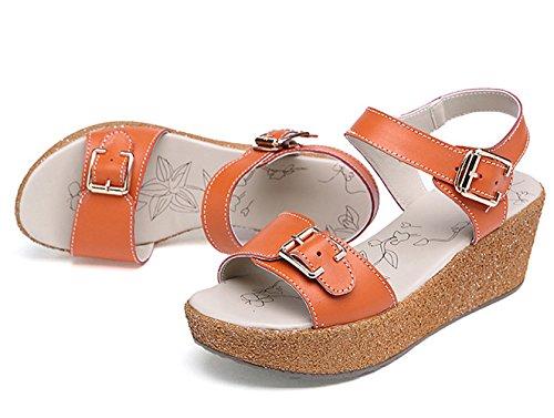Moderne Sommer Damen Fischkopf Zehen Plateau Bequeme Keilabsatz Mutterschuhe Weiche Sohle Gummi Anti Rutsch Strandschuhe Sandalen Orange
