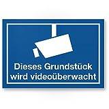 Grundstück Videoüberwacht Kunststoff Schild (blau, 30 x 20 cm) - Achtung/Vorsicht Videoüberwachung - Hinweis/Hinweisschild Videoüberwacht - Warnschild/Warnhinweis