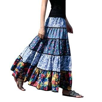 Ferrand - Jupe Longue Ethnique En Lin Imprimée Taille Elastique - Jupe DWYCCQ05 - Femme Bleu