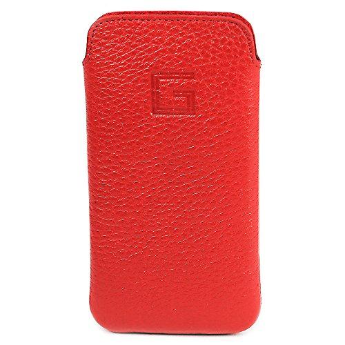 Goldberg Apple iPhone SE Hülle Echt Leder Case Tasche Etui Handytasche Ledertasche Schutzhülle - EasyCase Slim Line (Rot)