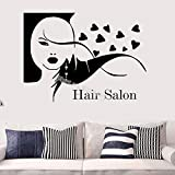 yaoxingfu Hair Salon Wall Sticker Pretty Girl Hair Face Heart Decor Vinyl Decal Beauty Salon Modeling Barber Shop Stylist Studio Card Color 151x110cm