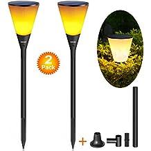 Ankway Antorcha de luz solar LED juego de 2, impermeable Luz solar con 96 LED Lámpara de luz solar Led para decoración en interior/exterior, Luz LED para patio jardín decoración de pared o senderos
