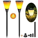 Lampe de poche solaire LED Pack 2, Ankway 96 LED Lampe de torche étanche à l'énergie solaire Flamme scintillante Décoration extérieure / d'intérieur pour jardin Patio Chemin paysage ou affichage mural